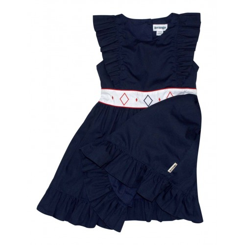 KORANGO - Bohemian Ruffle Dress - Navy