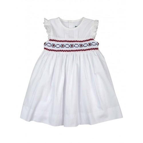 KORANGO - Festive Smocked Dress - White